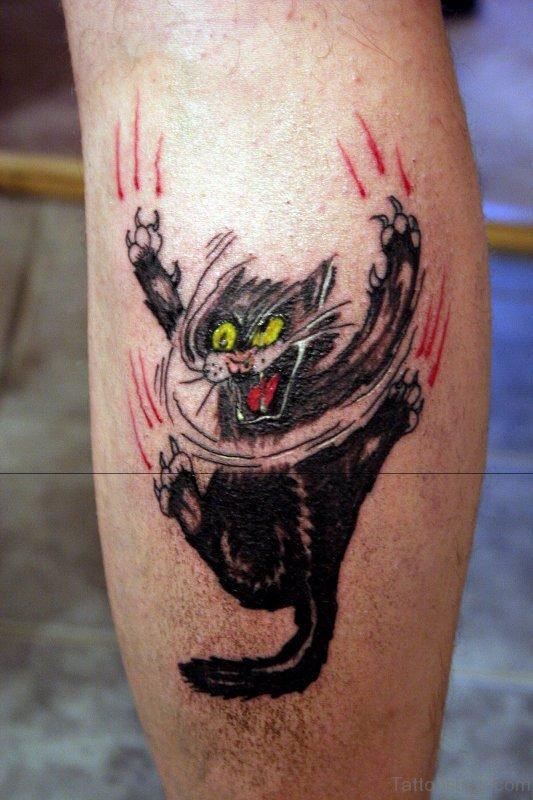 Cat Paw Sacratche Tattoo On Leg