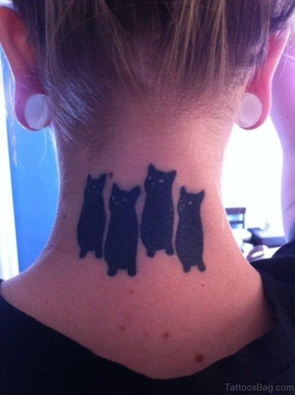 Cat Tattoo On Nape