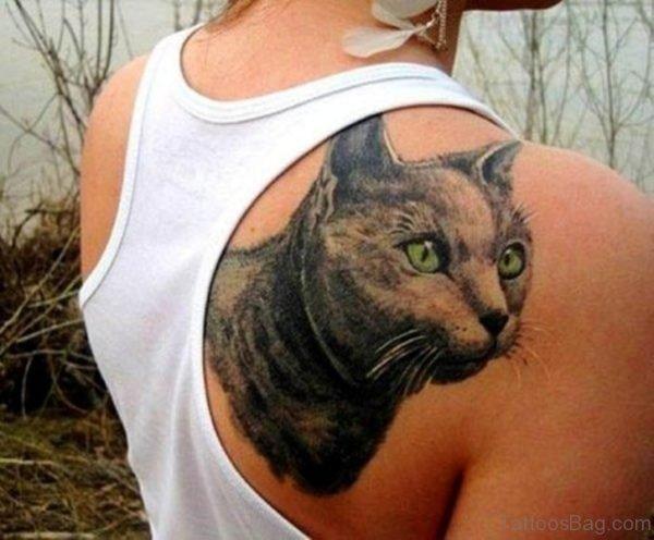 Cat Tattoo On Shoulder