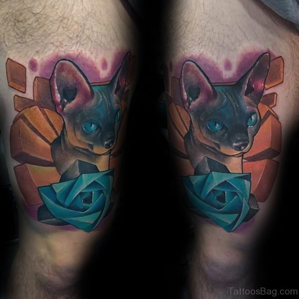 Cat With Blue Rose Tattoo On Thigh
