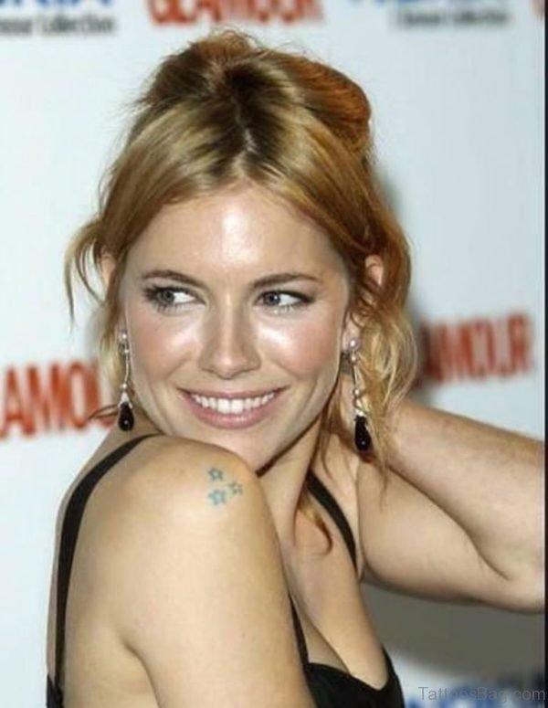 Celebrity Star Tattoo On Shoulder