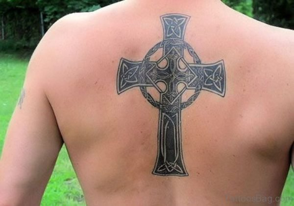 Celtic Cross Upper Back Tattoo