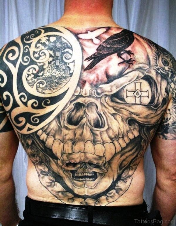 Celtic Skull With Crow Tattoo