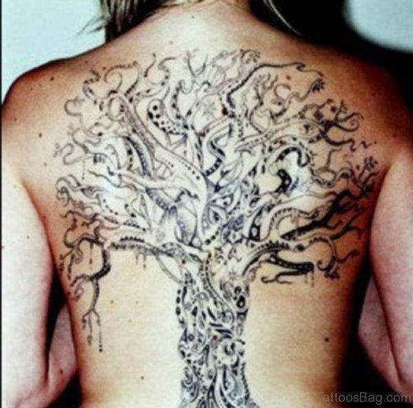 Celtic Tree Tattoo On Full Back
