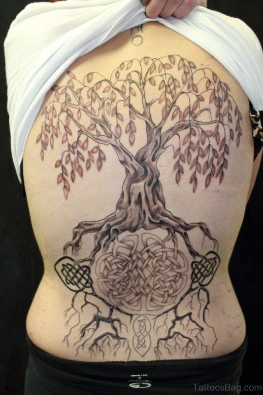 Celtic Tree Tattoo On Full Back Image