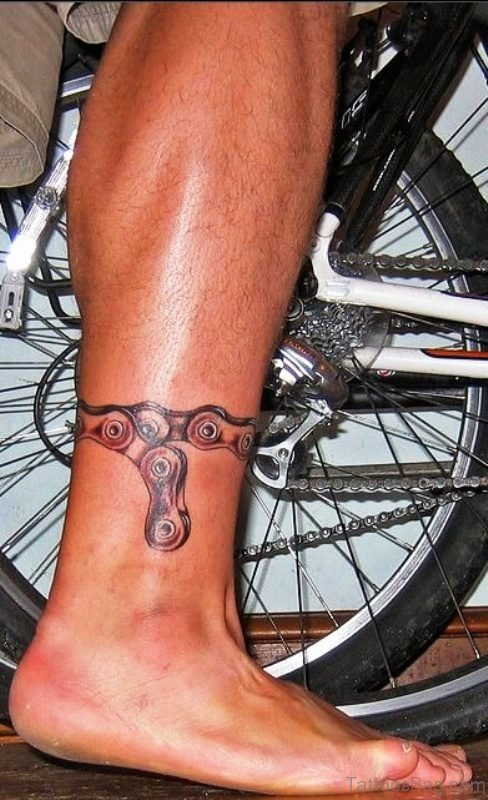 Chain Band Tattoo On Leg