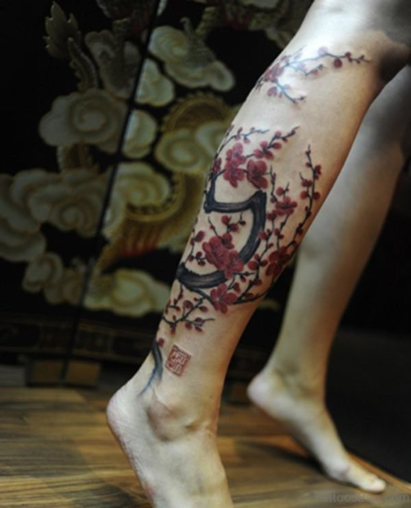 Cherry Blossom Tree tattoo on leg