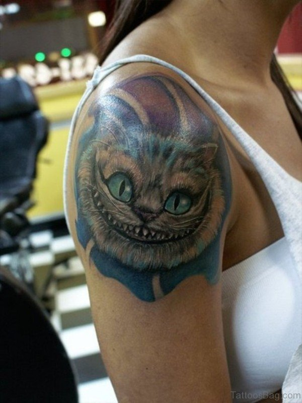 Cheshire Cat Tattoo On Shoulder For Girl