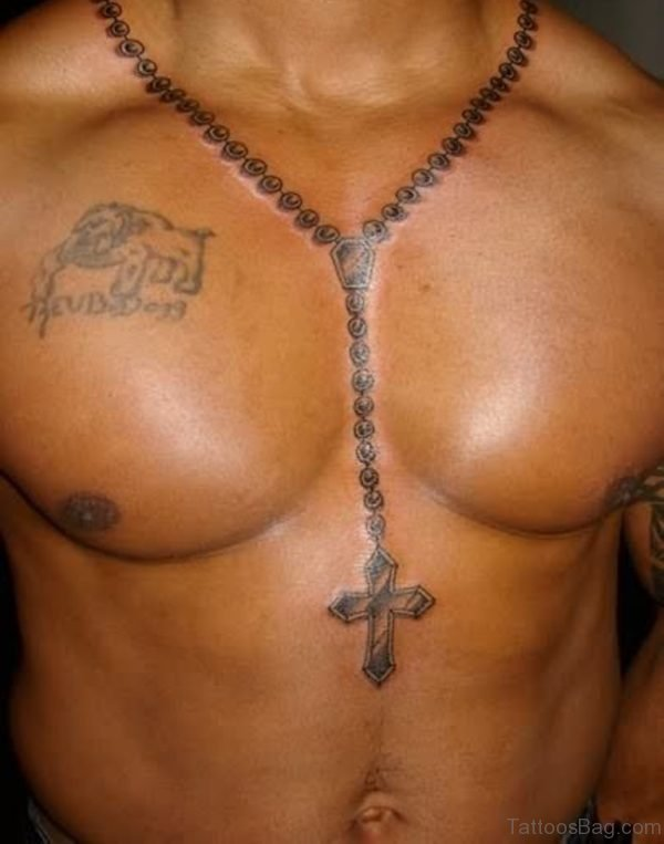 Chest Rosary Tattoo For Men