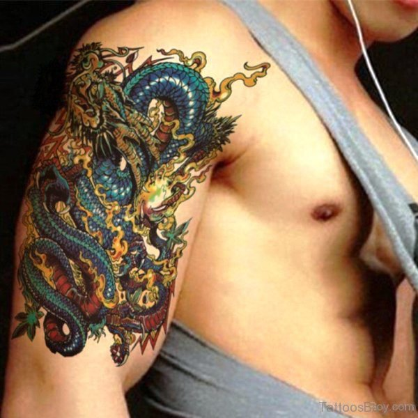 Chinese Dragon Tattoo On Shoulder