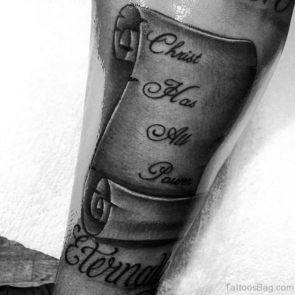 Christian Nale Scroll Inner Arm Tattoo