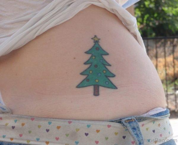 Christmas Tree Tattoo On Waist