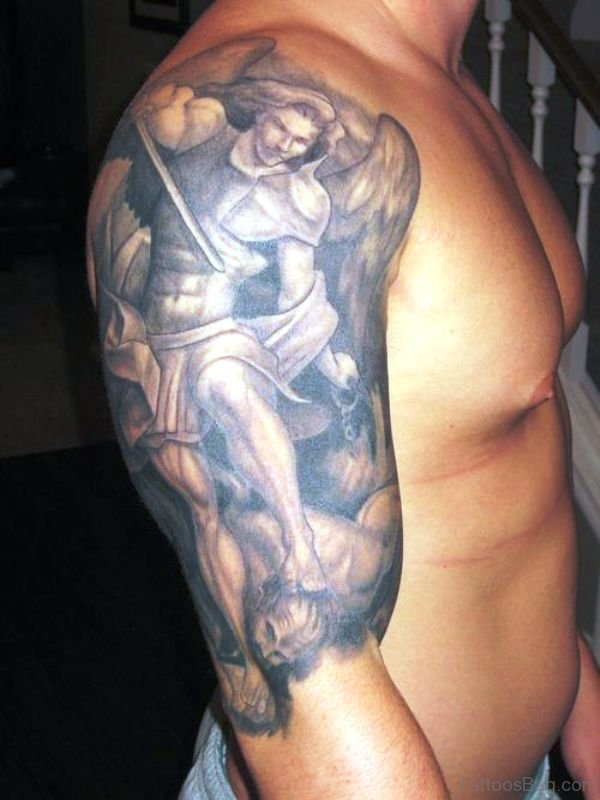 Classic Archangel Tattoo On Shoulder