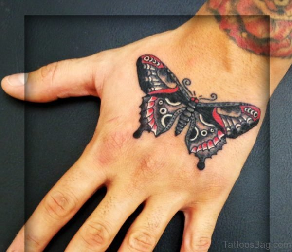 Classic Butterfly Tattoo On Hand