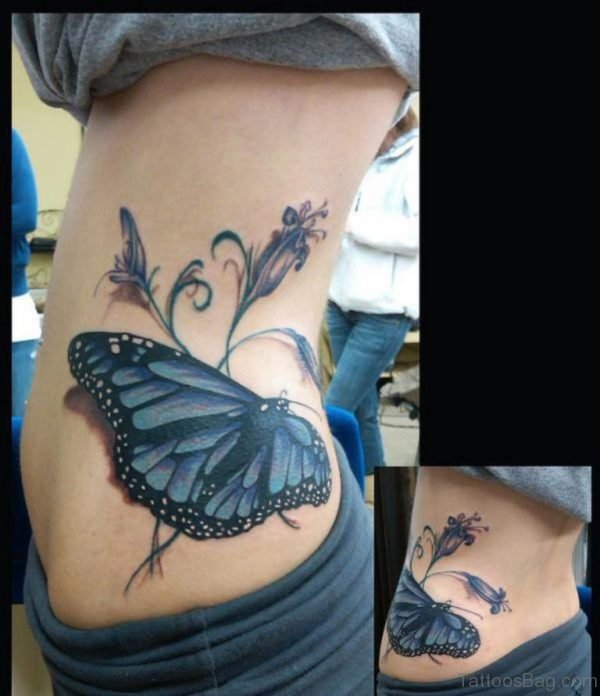Classic Butterfly Tattoo On Waist