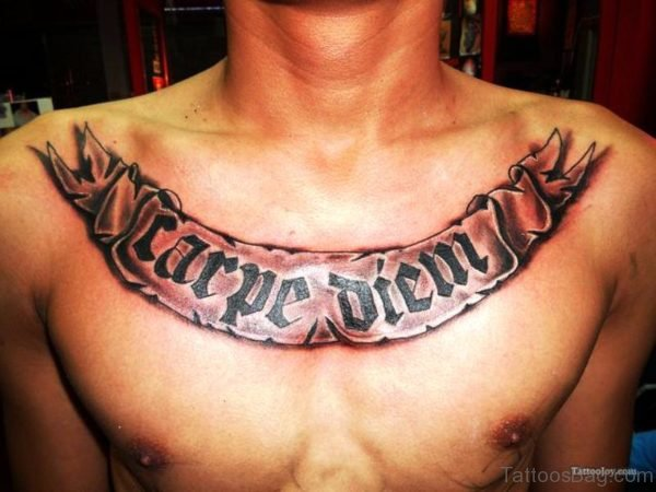Classic Carpe Diem Tattoo On Chest