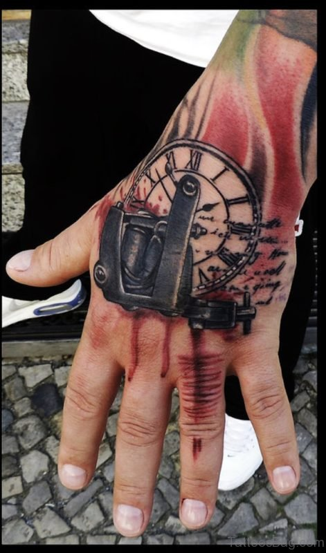 Classic Clock Tattoo On Hand