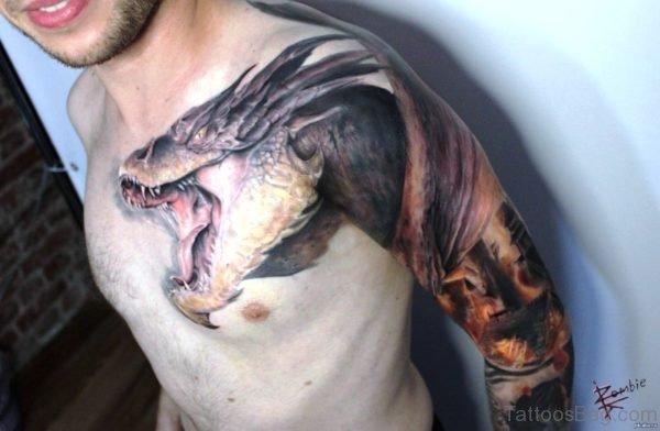 Classic Dragon Tattoo On Shoulder