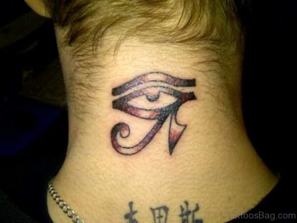 Classic Eye Tattoo On Nape