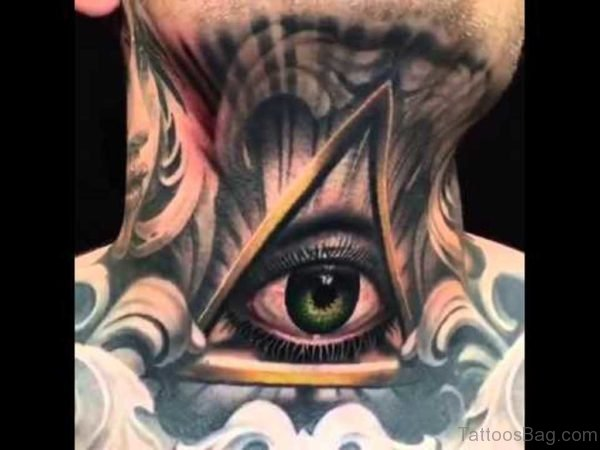 Classic Eye Tattoo On Neck
