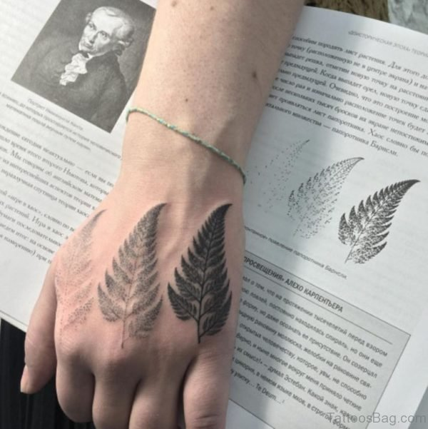 Classic Leaf Tattoo On Hand