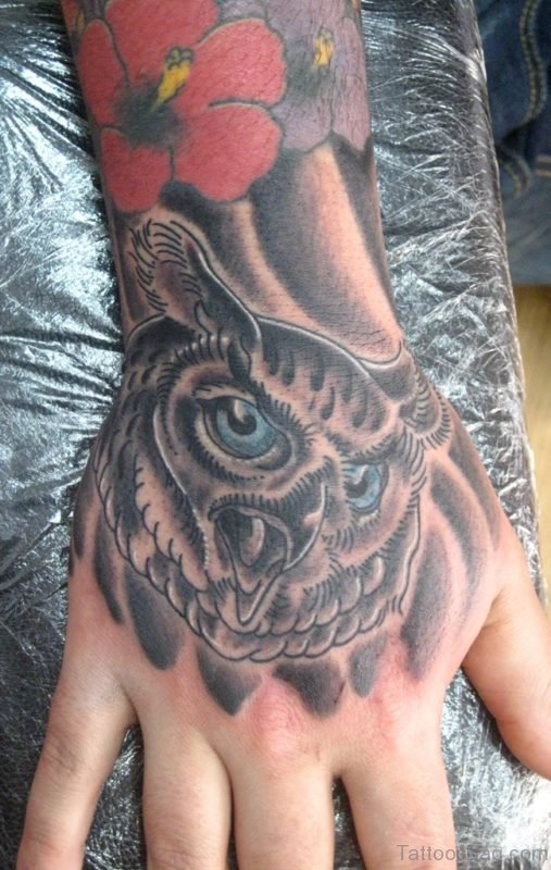 Classic Owl Tattoo On Hand