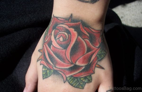 Classic Red Rose Tattoo On Hand