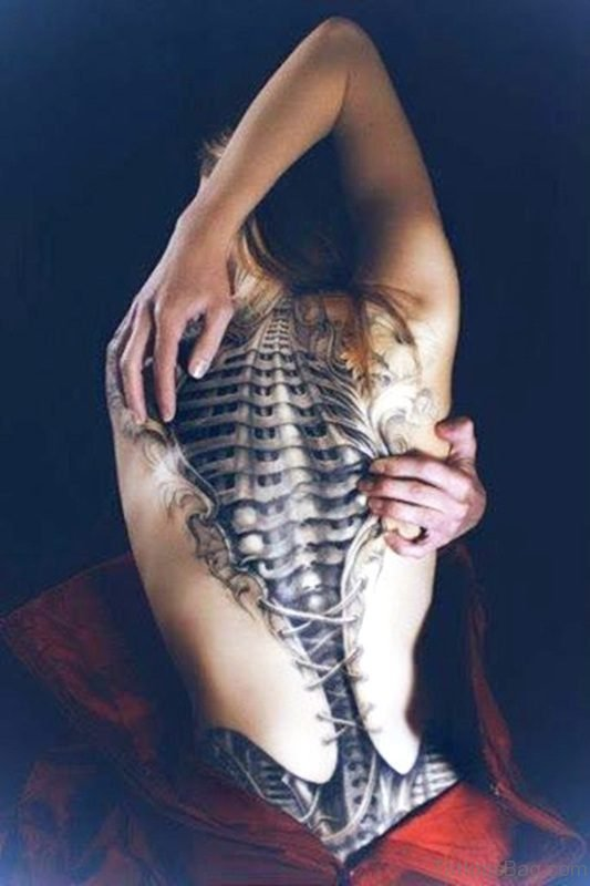 Classic Skeleton Tattoo On Back