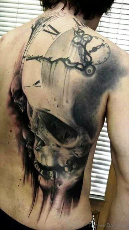 Classic Skull Tattoo On Back