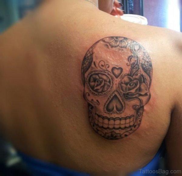 Classic Skull Tattoo On Upper back