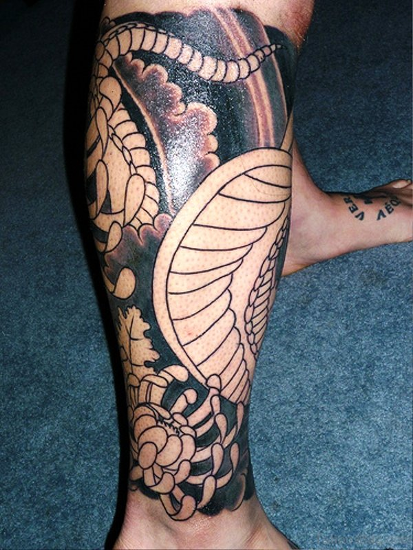 Classic Tattoo On Calf