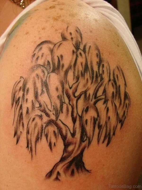Classic Tree Tattoo On Shoulder