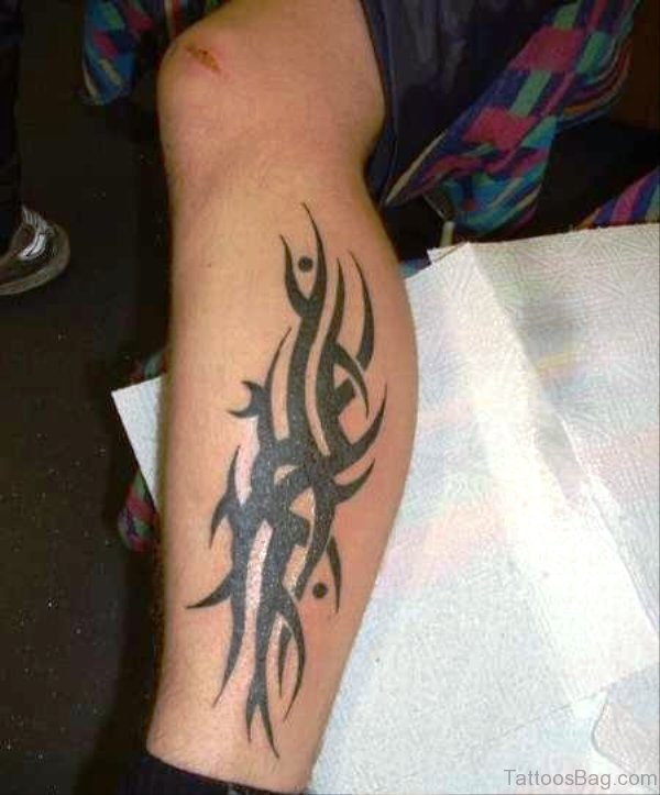 Classic Tribal Tattoo Design On Calf