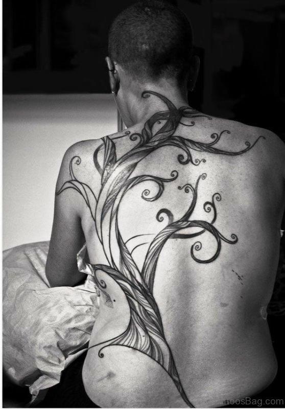 Classic Vine Tattoo On Back