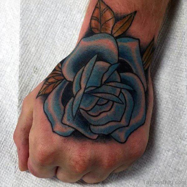 Classy Blue Rose Hand Tattoo