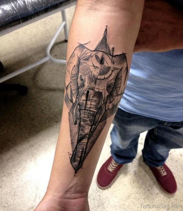 Classy Elephant Tattoo On Forearm