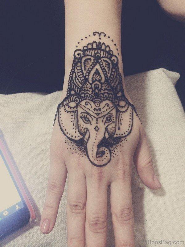 Classy Elephant Tattoo On Hand 1