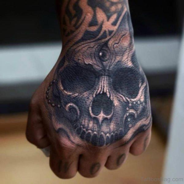 Classy Skull Tattoo On Hand