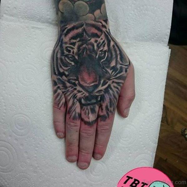 Classy Tiger Tattoo On Hand