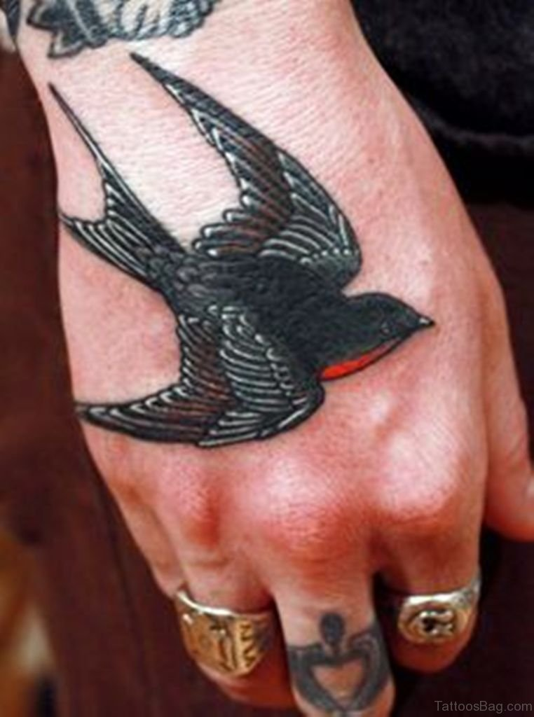 42 unique swallow tattoos on hand for Swallow hand tattoo