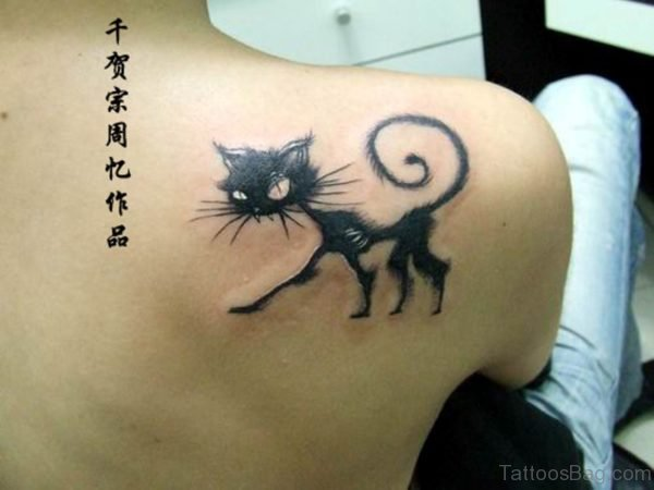 Clever Cat Shoulder Tattoo