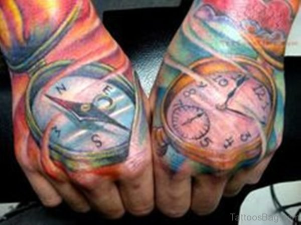 Clock And Compass Tattoo