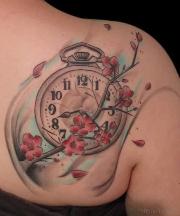 Clock And Flowers Tattoo On Back