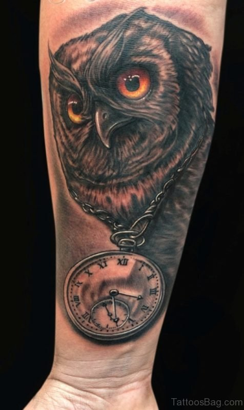 Clock And Owl Tattoo On Arm
