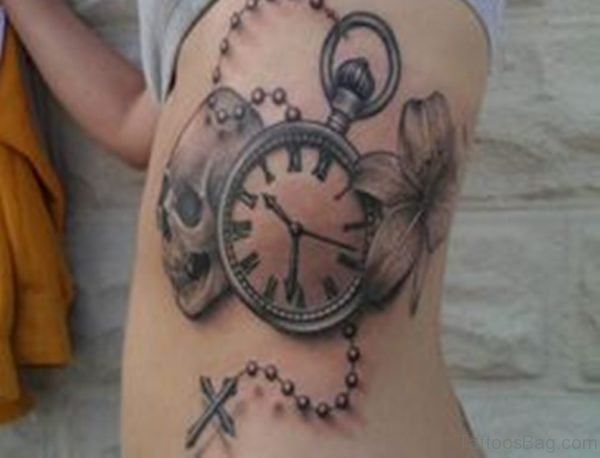 Clock And Rosary Tattoo