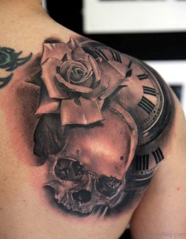 Clock And Skull Tattoo On Upper Back