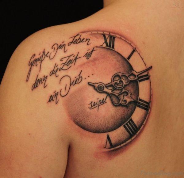 Clock Tattoo On Back