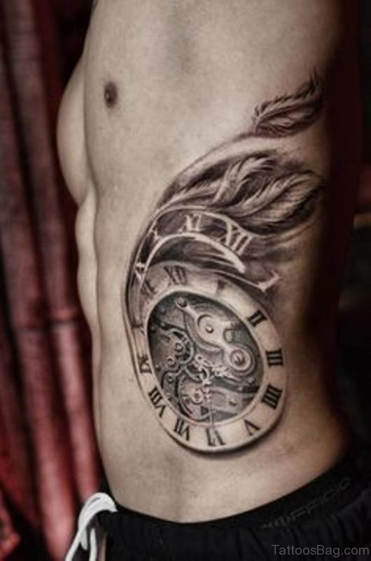 Clock Tattoo On Rib