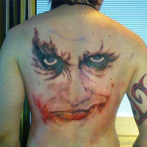 Clown Face Tattoo On Back