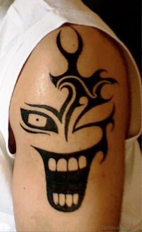 Clown Teeth Tattoo On Shoulder